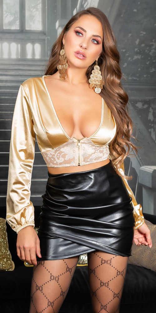 Sexy dámská halenka s krajkou ve zlatém provedení