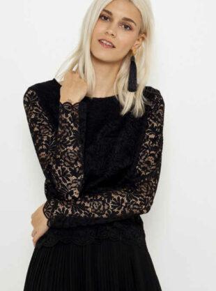 Černá dámská elegantní halenka s jemnou krajkou