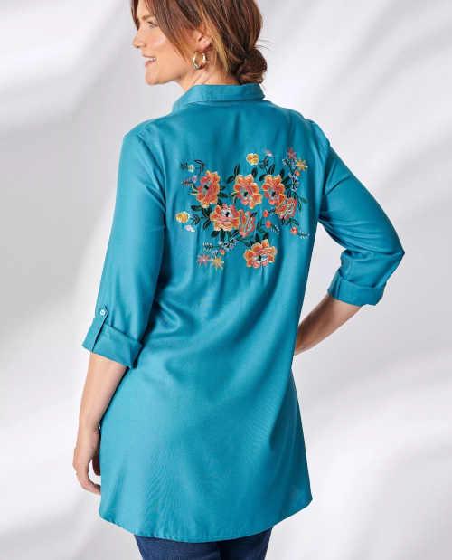 Propínací košile s dlouhým rukávem a květinovou výšivkou