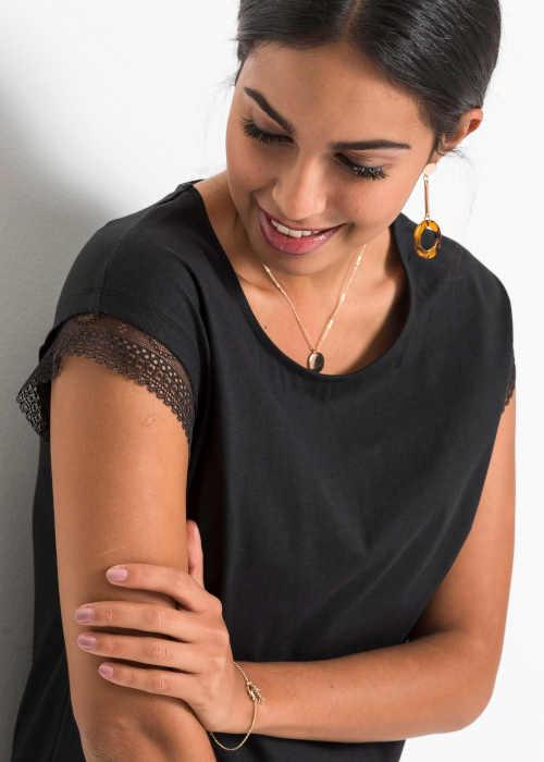 černé dámské triko s krajkou