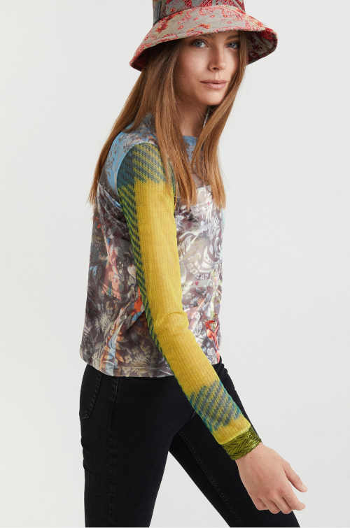 triko Desigual s dlouhým rukávem